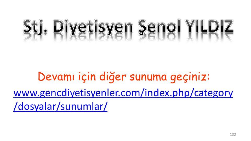 Devamı için diğer sunuma geçiniz: www.gencdiyetisyenler.com/index.php/category /dosyalar/sunumlar/ 102