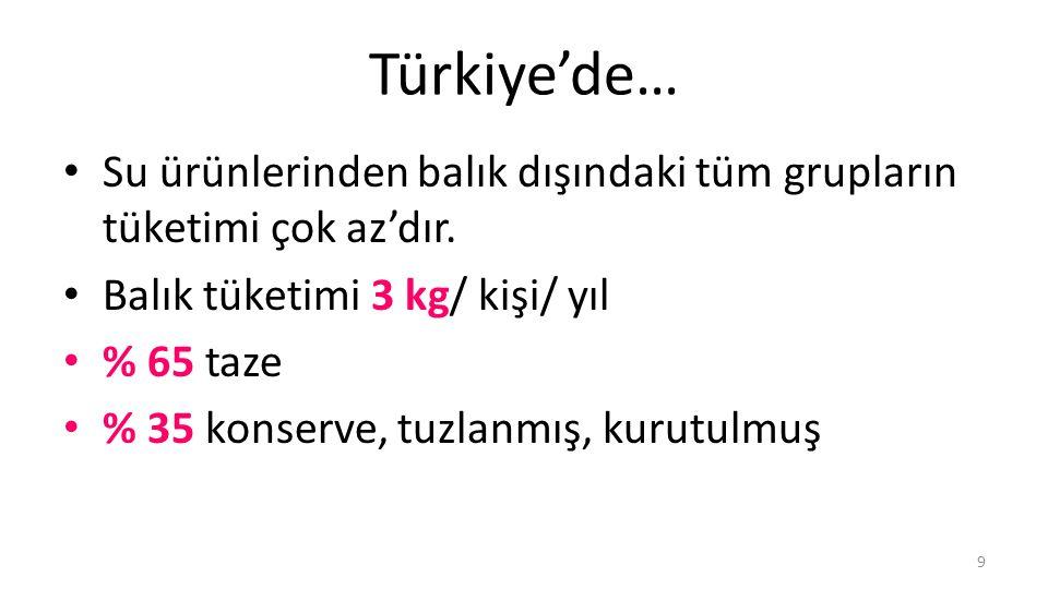Türkiye'de… Su ürünlerinden balık dışındaki tüm grupların tüketimi çok az'dır.
