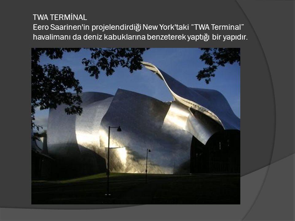 """TWA TERMİNAL Eero Saarinen'in projelendirdiği New York'taki """"TWA Terminal"""" havalimanı da deniz kabuklarına benzeterek yaptığı bir yapıdır."""
