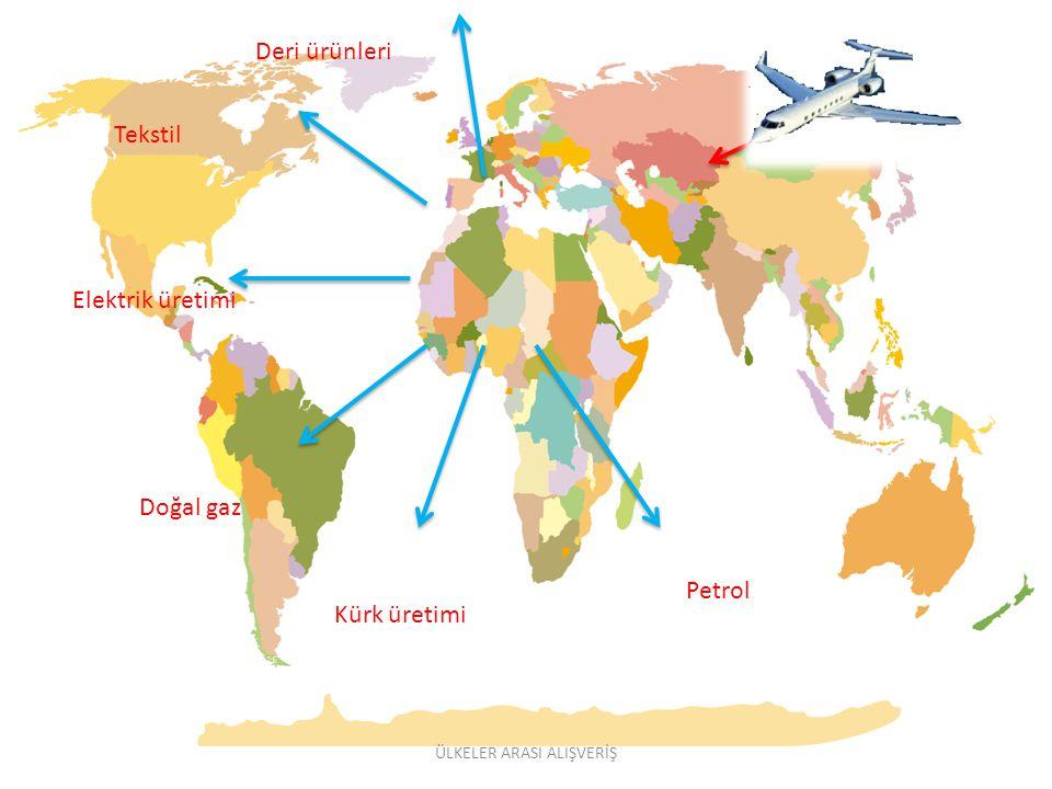 Deri ürünleri Tekstil Elektrik üretimi Doğal gaz Kürk üretimi Petrol ÜLKELER ARASI ALIŞVERİŞ
