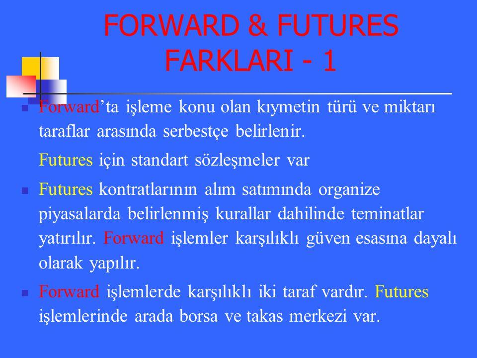 FORWARD & FUTURES FARKLARI - 1 Forward'ta işleme konu olan kıymetin türü ve miktarı taraflar arasında serbestçe belirlenir. Futures için standart sözl