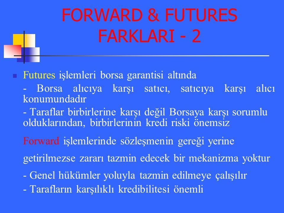 FORWARD & FUTURES FARKLARI - 2 Futures işlemleri borsa garantisi altında - Borsa alıcıya karşı satıcı, satıcıya karşı alıcı konumundadır - Taraflar bi