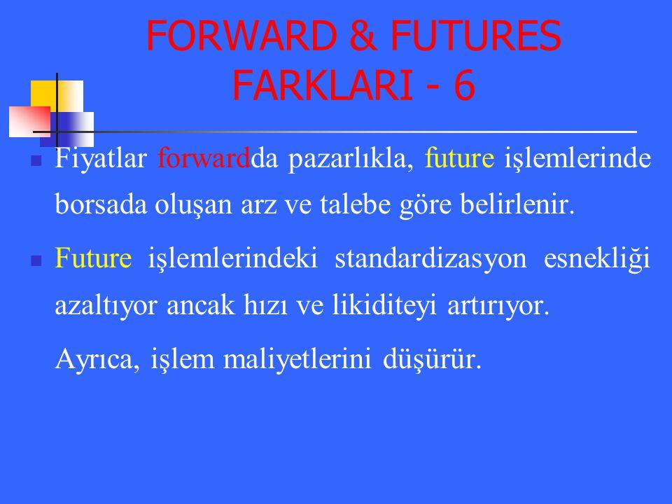 FORWARD & FUTURES FARKLARI - 6 Fiyatlar forwardda pazarlıkla, future işlemlerinde borsada oluşan arz ve talebe göre belirlenir. Future işlemlerindeki