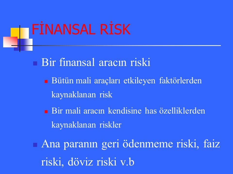 FİNANSAL RİSK Bir finansal aracın riski Bütün mali araçları etkileyen faktörlerden kaynaklanan risk Bir mali aracın kendisine has özelliklerden kaynak