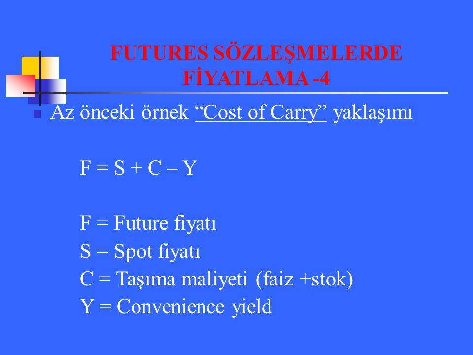 """Az önceki örnek """"Cost of Carry"""" yaklaşımı F = S + C – Y F = Future fiyatı S = Spot fiyatı C = Taşıma maliyeti (faiz +stok) Y = Convenience yield FUTUR"""