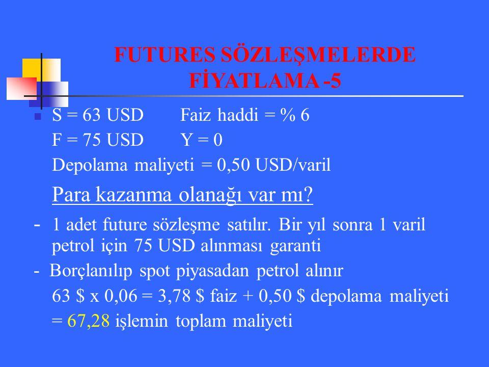 S = 63 USDFaiz haddi = % 6 F = 75 USDY = 0 Depolama maliyeti = 0,50 USD/varil Para kazanma olanağı var mı? - 1 adet future sözleşme satılır. Bir yıl s
