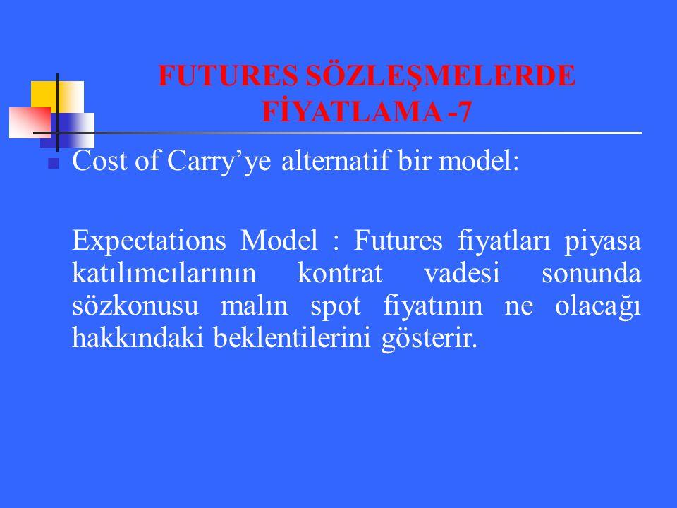 Cost of Carry'ye alternatif bir model: Expectations Model : Futures fiyatları piyasa katılımcılarının kontrat vadesi sonunda sözkonusu malın spot fiya