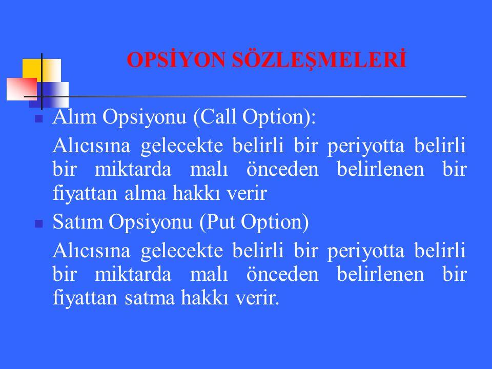Alım Opsiyonu (Call Option): Alıcısına gelecekte belirli bir periyotta belirli bir miktarda malı önceden belirlenen bir fiyattan alma hakkı verir Satı