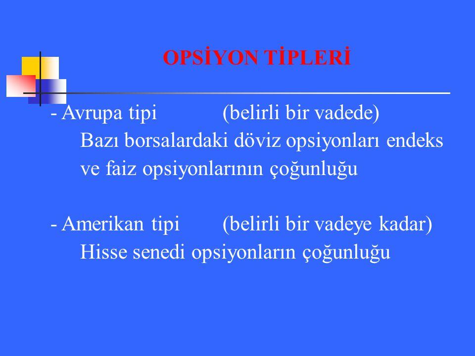 - Avrupa tipi(belirli bir vadede) Bazı borsalardaki döviz opsiyonları endeks ve faiz opsiyonlarının çoğunluğu - Amerikan tipi(belirli bir vadeye kadar