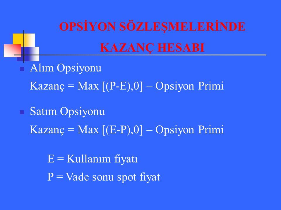 Alım Opsiyonu Kazanç = Max [(P-E),0] – Opsiyon Primi Satım Opsiyonu Kazanç = Max [(E-P),0] – Opsiyon Primi E = Kullanım fiyatı P = Vade sonu spot fiya