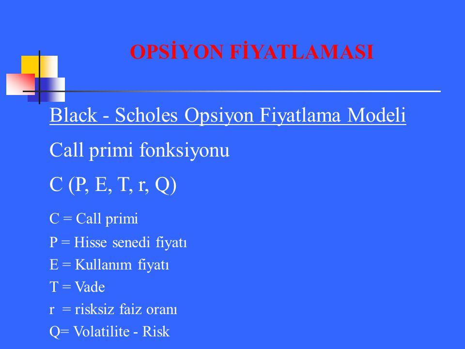 Black - Scholes Opsiyon Fiyatlama Modeli Call primi fonksiyonu C (P, E, T, r, Q) C = Call primi P = Hisse senedi fiyatı E = Kullanım fiyatı T = Vade r