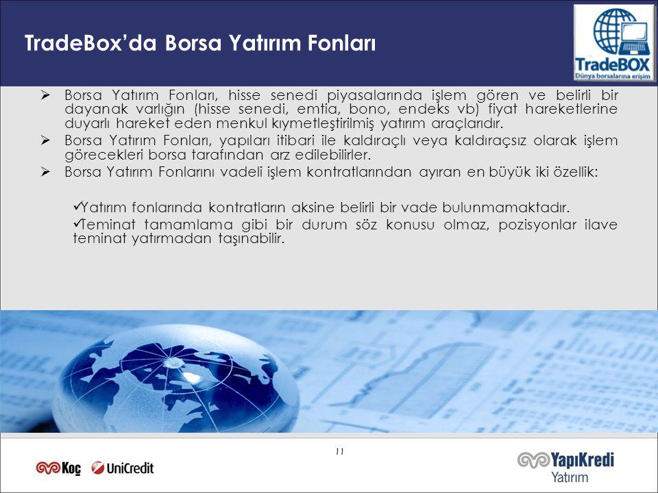 11 TradeBox'da Borsa Yatırım Fonları  Borsa Yatırım Fonları, hisse senedi piyasalarında işlem gören ve belirli bir dayanak varlığın (hisse senedi, em