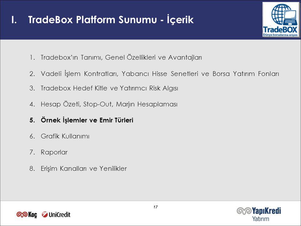 17 I.TradeBox Platform Sunumu - İçerik 1.Tradebox'ın Tanımı, Genel Özellikleri ve Avantajları 2.Vadeli İşlem Kontratları, Yabancı Hisse Senetleri ve B