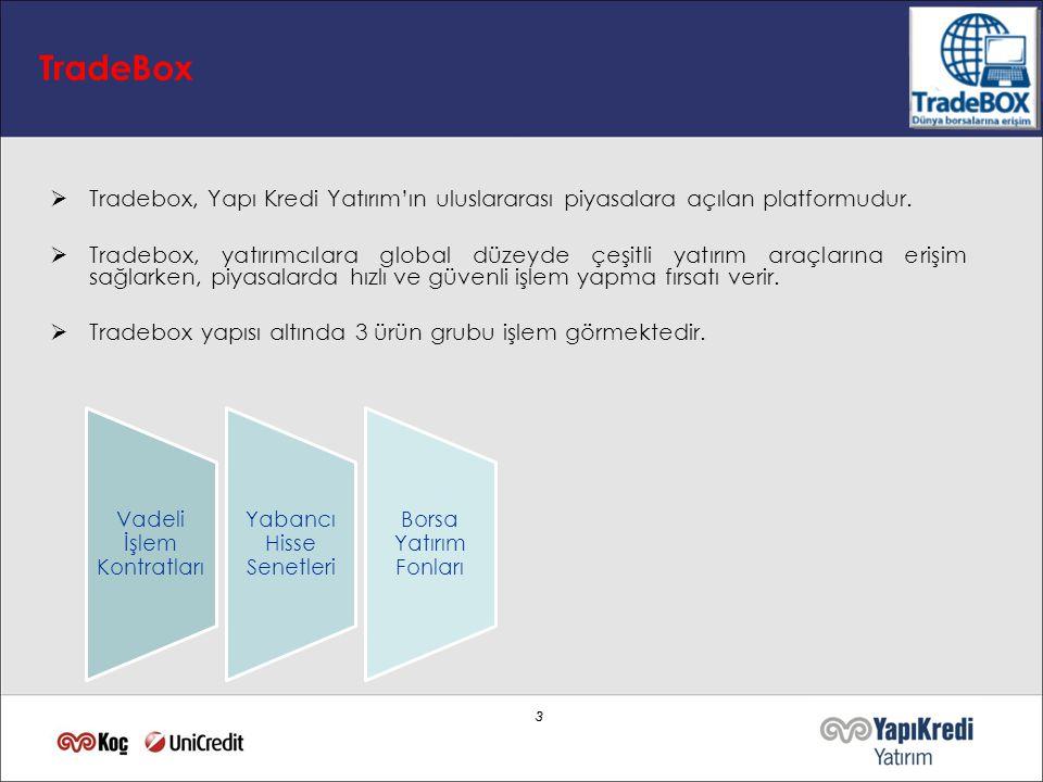 3 3 TradeBox  Tradebox, Yapı Kredi Yatırım'ın uluslararası piyasalara açılan platformudur.  Tradebox, yatırımcılara global düzeyde çeşitli yatırım a
