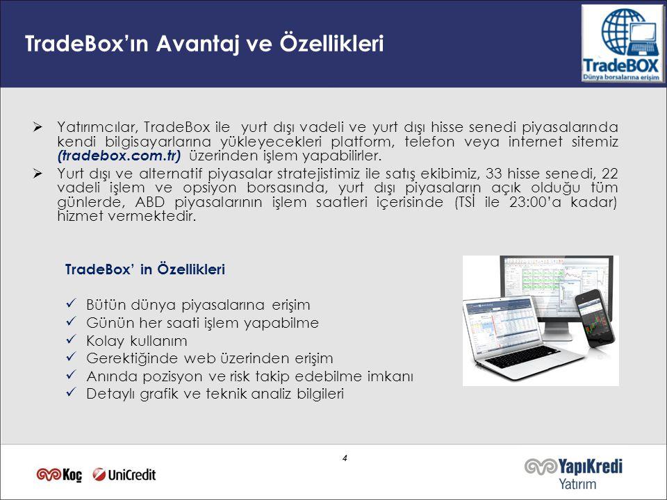 4 4 TradeBox'ın Avantaj ve Özellikleri  Yatırımcılar, TradeBox ile yurt dışı vadeli ve yurt dışı hisse senedi piyasalarında kendi bilgisayarlarına yü