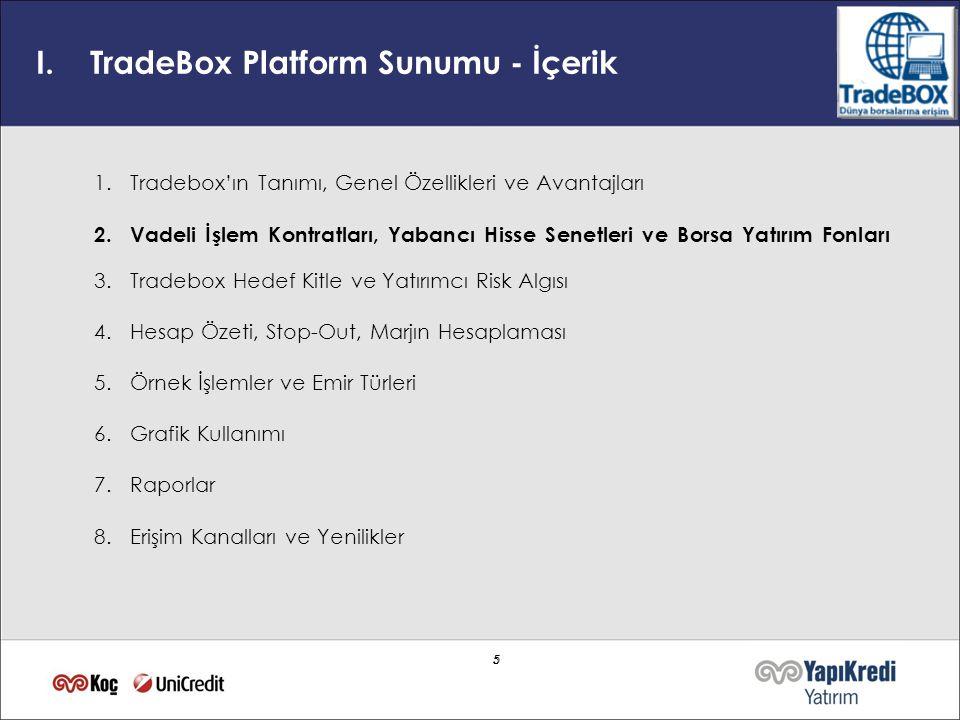 5 5 I.TradeBox Platform Sunumu - İçerik 1.Tradebox'ın Tanımı, Genel Özellikleri ve Avantajları 2. Vadeli İşlem Kontratları, Yabancı Hisse Senetleri ve