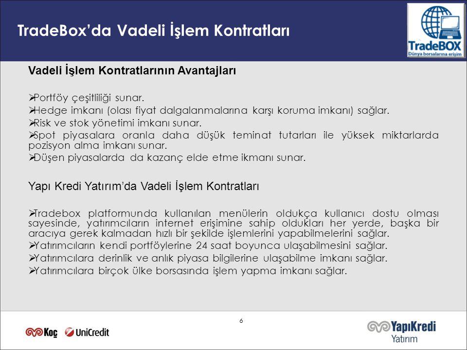 66 TradeBox'da Vadeli İşlem Kontratları Vadeli İşlem Kontratlarının Avantajları  Portföy çeşitliliği sunar.  Hedge imkanı (olası fiyat dalgalanmalar