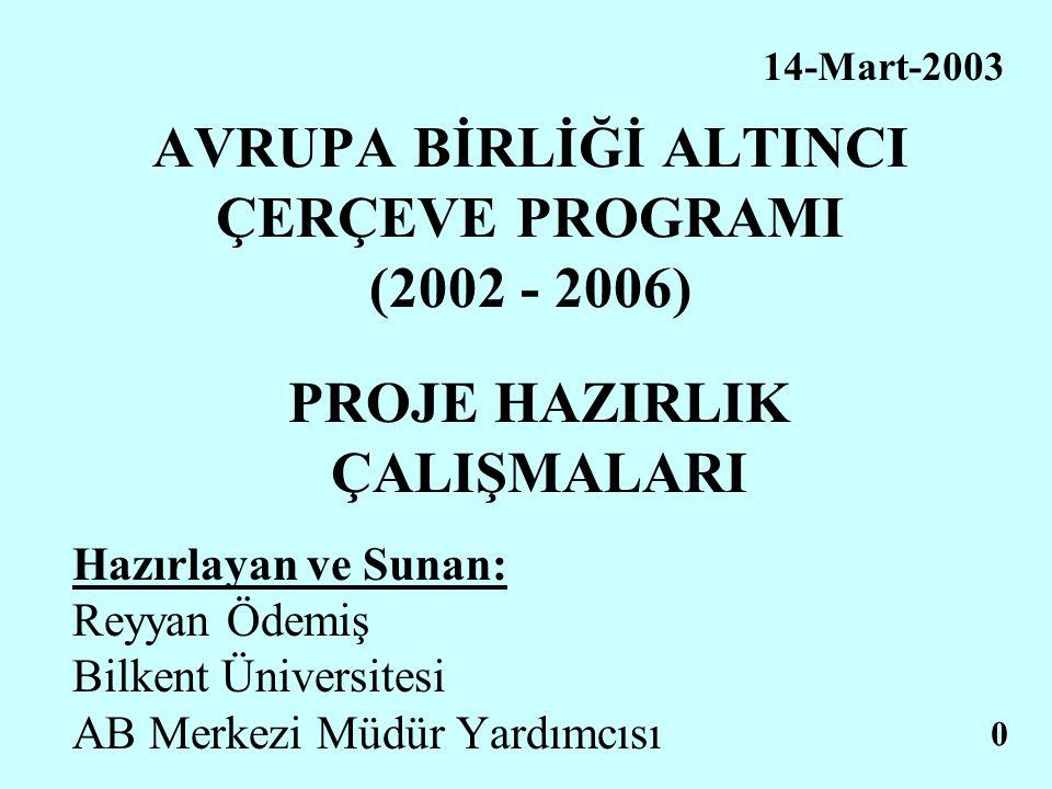 AVRUPA BİRLİĞİ ALTINCI ÇERÇEVE PROGRAMI (2002 - 2006) PROJE HAZIRLIK ÇALIŞMALARI Hazırlayan ve Sunan: Reyyan Ödemiş Bilkent Üniversitesi AB Merkezi Mü