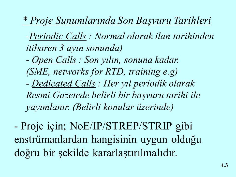 * Proje Sunumlarında Son Başvuru Tarihleri -Periodic Calls : Normal olarak ilan tarihinden itibaren 3 ayın sonunda) - Open Calls : Son yılın, sonuna k