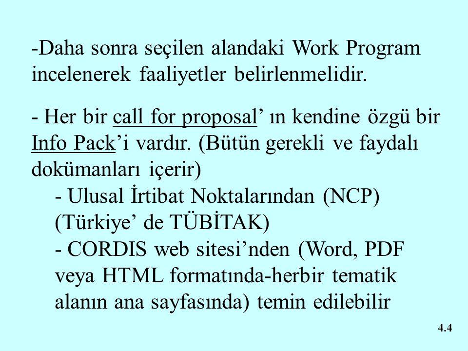 4.4 -Daha sonra seçilen alandaki Work Program incelenerek faaliyetler belirlenmelidir. - Her bir call for proposal' ın kendine özgü bir Info Pack'i va