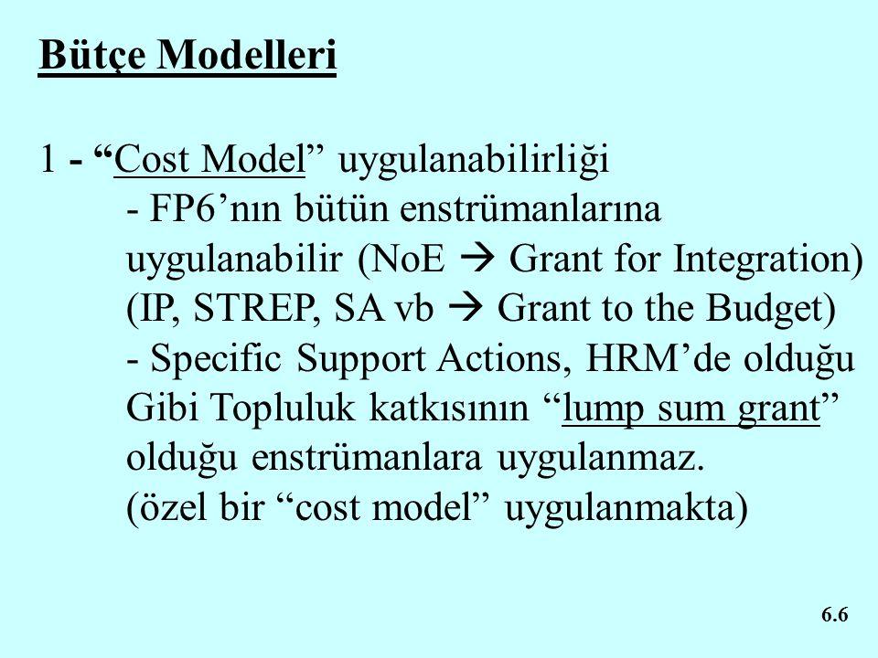 """6.6 Bütçe Modelleri 1 - """"Cost Model"""" uygulanabilirliği - FP6'nın bütün enstrümanlarına uygulanabilir (NoE  Grant for Integration) (IP, STREP, SA vb """