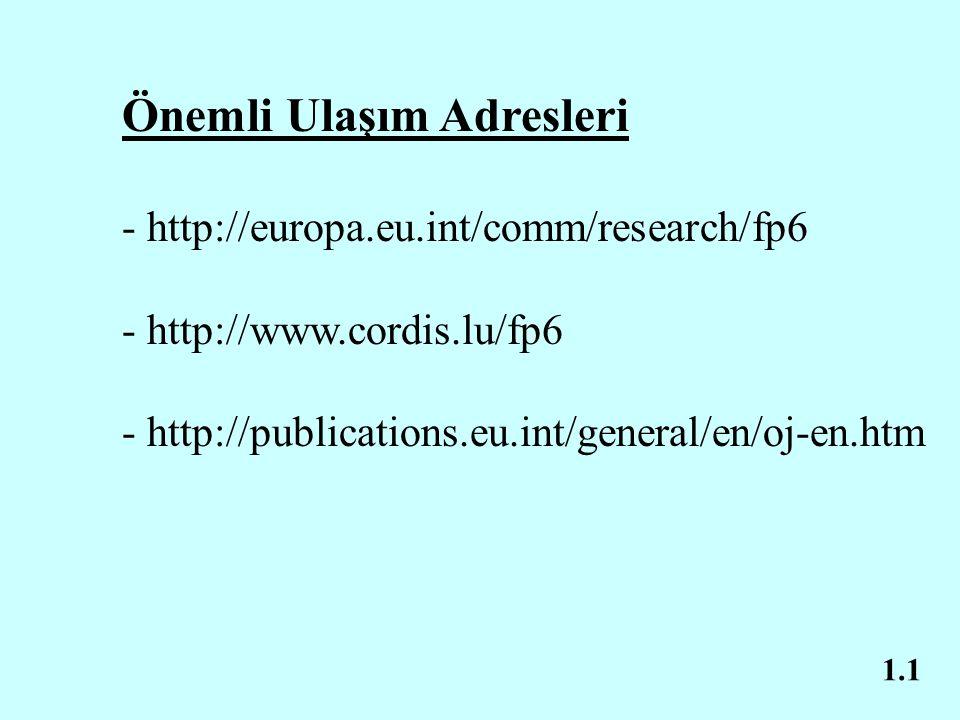 1.1 Önemli Ulaşım Adresleri - http://europa.eu.int/comm/research/fp6 - http://www.cordis.lu/fp6 - http://publications.eu.int/general/en/oj-en.htm