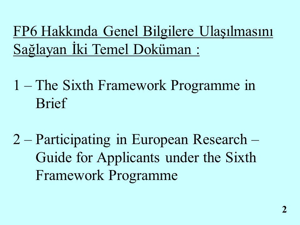 2.1.1 1 – The Sixth Framework Programme in Brief (30 Sayfa) http://europa.eu.int/comm/research/fp6 Kapsamı : - FP6 Programının temel özellikleri ve diğer programlardan farkları - Programın içerdiği faaliyetler, Finansman Planı, Tematik Alanlar, Proje Çeşitleri vb.