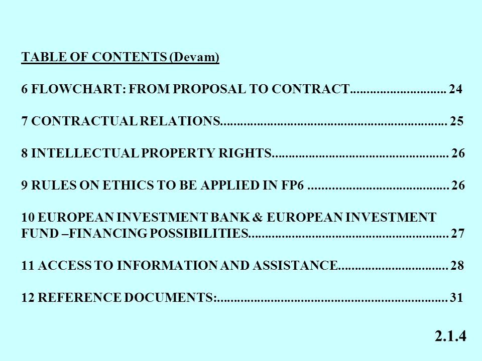 TABLE OF CONTENTS (Devam) 6 FLOWCHART: FROM PROPOSAL TO CONTRACT.............................
