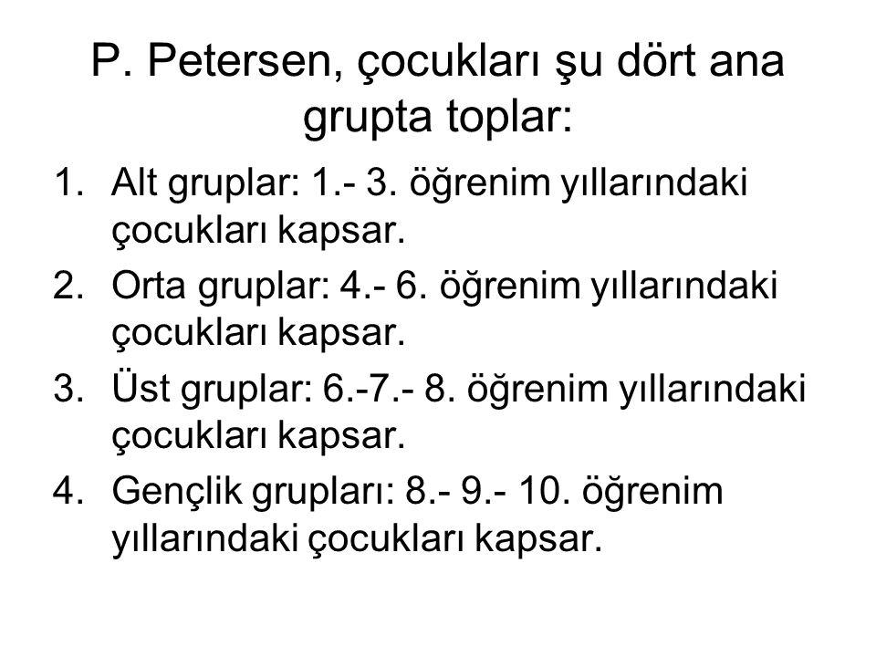P. Petersen, çocukları şu dört ana grupta toplar: 1.Alt gruplar: 1.- 3. öğrenim yıllarındaki çocukları kapsar. 2.Orta gruplar: 4.- 6. öğrenim yılların