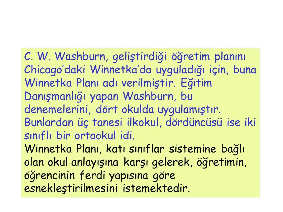 C. W. Washburn, geliştirdiği öğretim planını Chicago'daki Winnetka'da uyguladığı için, buna Winnetka Planı adı verilmiştir. Eğitim Danışmanlığı yapan