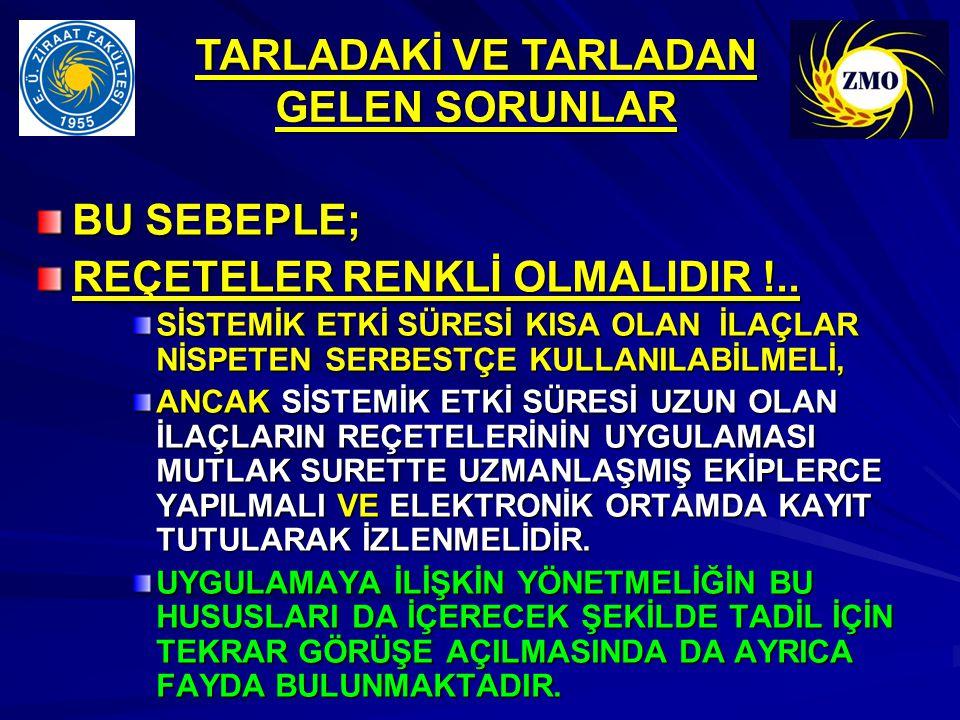 BU SEBEPLE; REÇETELER RENKLİ OLMALIDIR !..