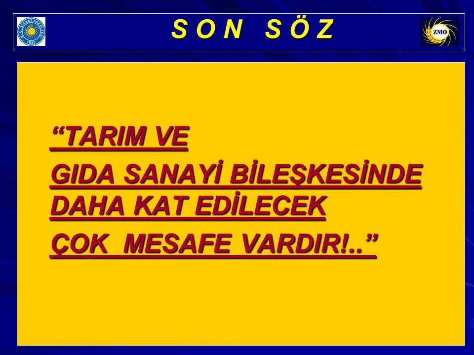 """""""TARIM VE GIDA SANAYİ BİLEŞKESİNDE DAHA KAT EDİLECEK ÇOK MESAFE VARDIR!.."""" S O N S Ö Z"""