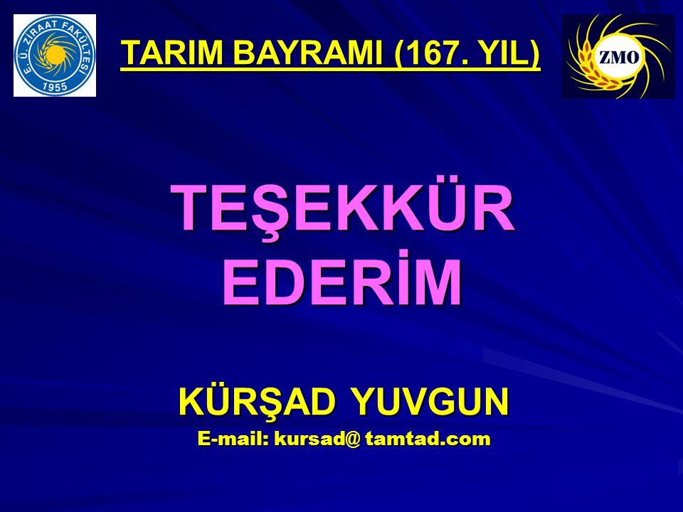 TEŞEKKÜR EDERİM KÜRŞAD YUVGUN E-mail: kursad@ tamtad.com TARIM BAYRAMI (167. YIL)