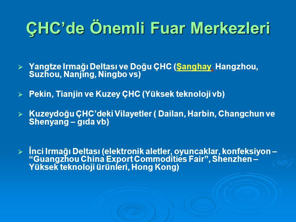 ÇHC'de Önemli Fuar Merkezleri   Yangtze Irmağı Deltası ve Doğu ÇHC (Şanghay, Hangzhou, Suzhou, Nanjing, Ningbo vs)   Pekin, Tianjin ve Kuzey ÇHC (