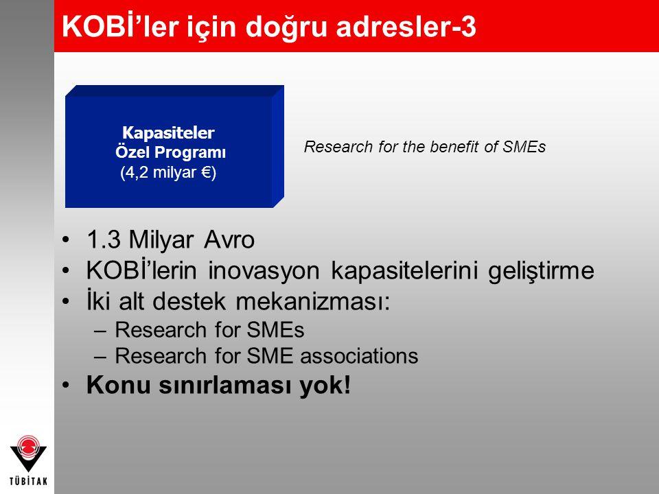 KOBİ'ler için doğru adresler-3 Research for the benefit of SMEs Kapasiteler Özel Programı (4,2 milyar €) 1.3 Milyar Avro KOBİ'lerin inovasyon kapasite