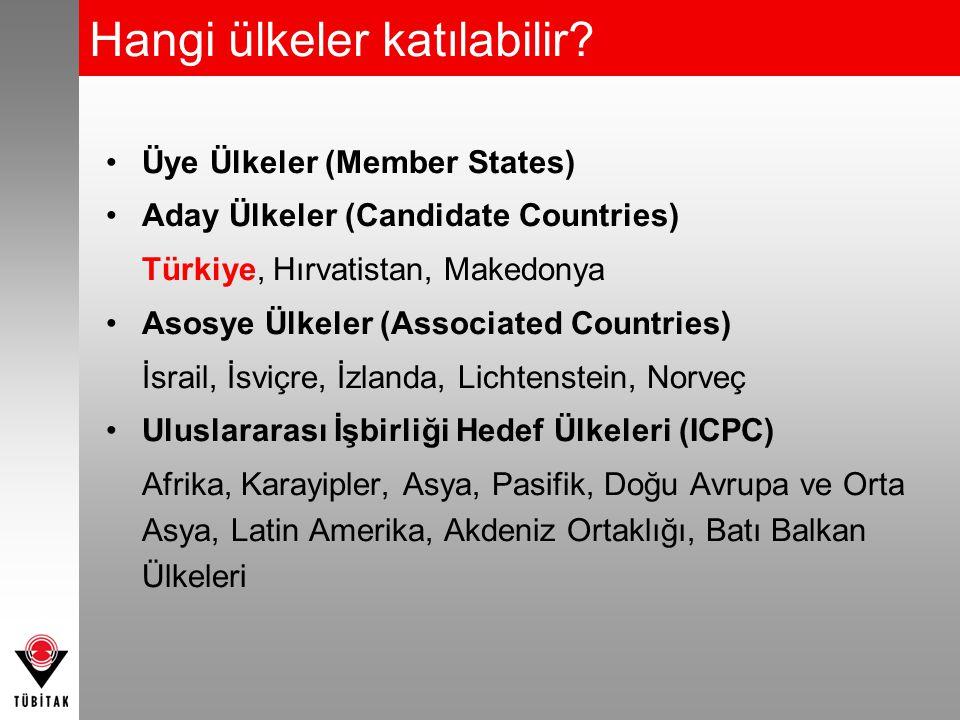 Hangi ülkeler katılabilir? Üye Ülkeler (Member States) Aday Ülkeler (Candidate Countries) Türkiye, Hırvatistan, Makedonya Asosye Ülkeler (Associated C