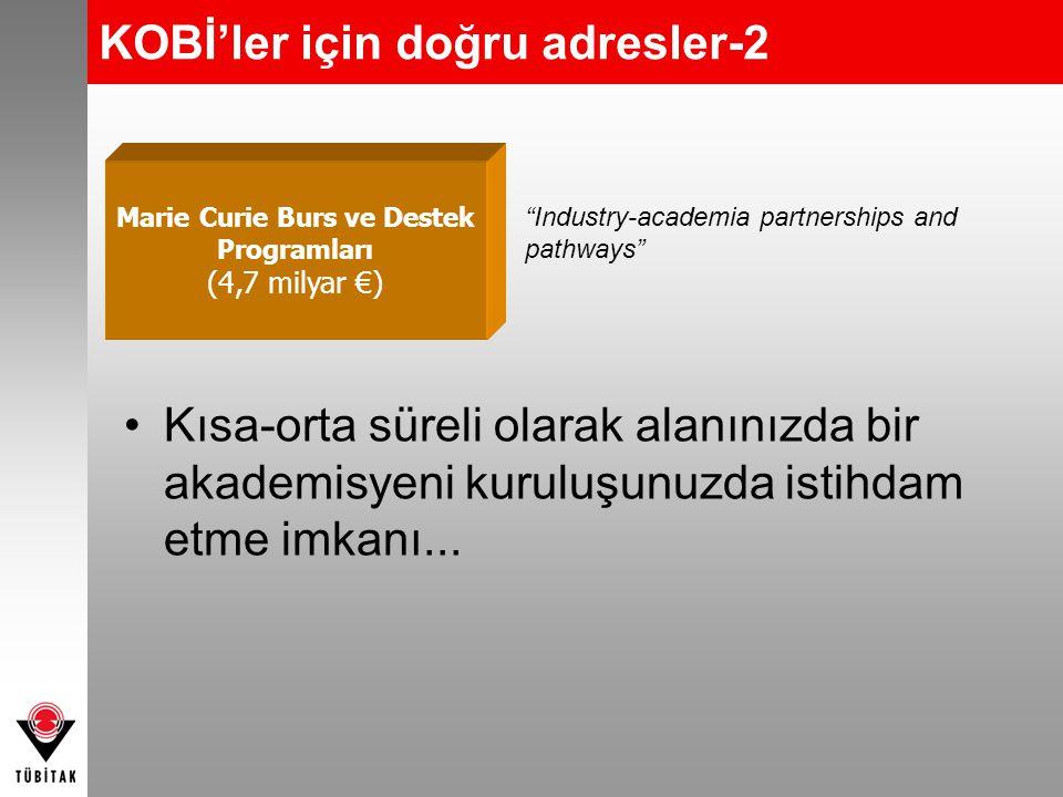 KOBİ'ler için doğru adresler-2 Kısa-orta süreli olarak alanınızda bir akademisyeni kuruluşunuzda istihdam etme imkanı... Marie Curie Burs ve Destek Pr