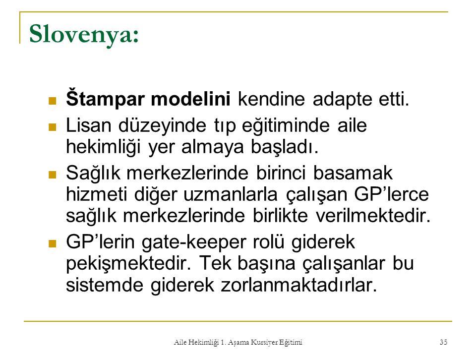Aile Hekimliği 1. Aşama Kursiyer Eğitimi 35 Slovenya: Štampar modelini kendine adapte etti. Lisan düzeyinde tıp eğitiminde aile hekimliği yer almaya b