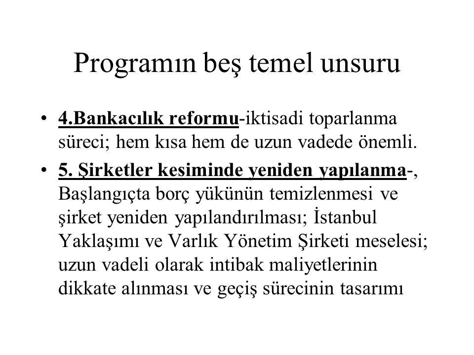 Programın beş temel unsuru 4.Bankacılık reformu-iktisadi toparlanma süreci; hem kısa hem de uzun vadede önemli. 5. Şirketler kesiminde yeniden yapılan