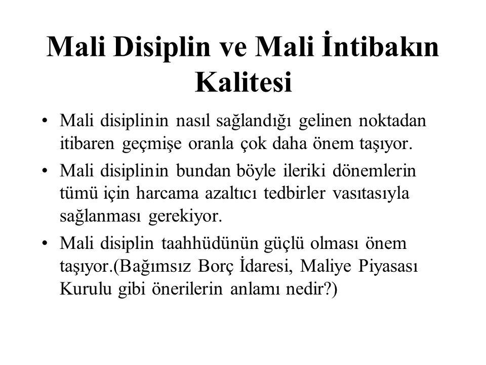 Mali Disiplin ve Mali İntibakın Kalitesi Mali disiplinin nasıl sağlandığı gelinen noktadan itibaren geçmişe oranla çok daha önem taşıyor. Mali disipli
