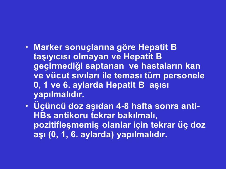 Marker sonuçlarına göre Hepatit B taşıyıcısı olmayan ve Hepatit B geçirmediği saptanan ve hastaların kan ve vücut sıvıları ile teması tüm personele 0,
