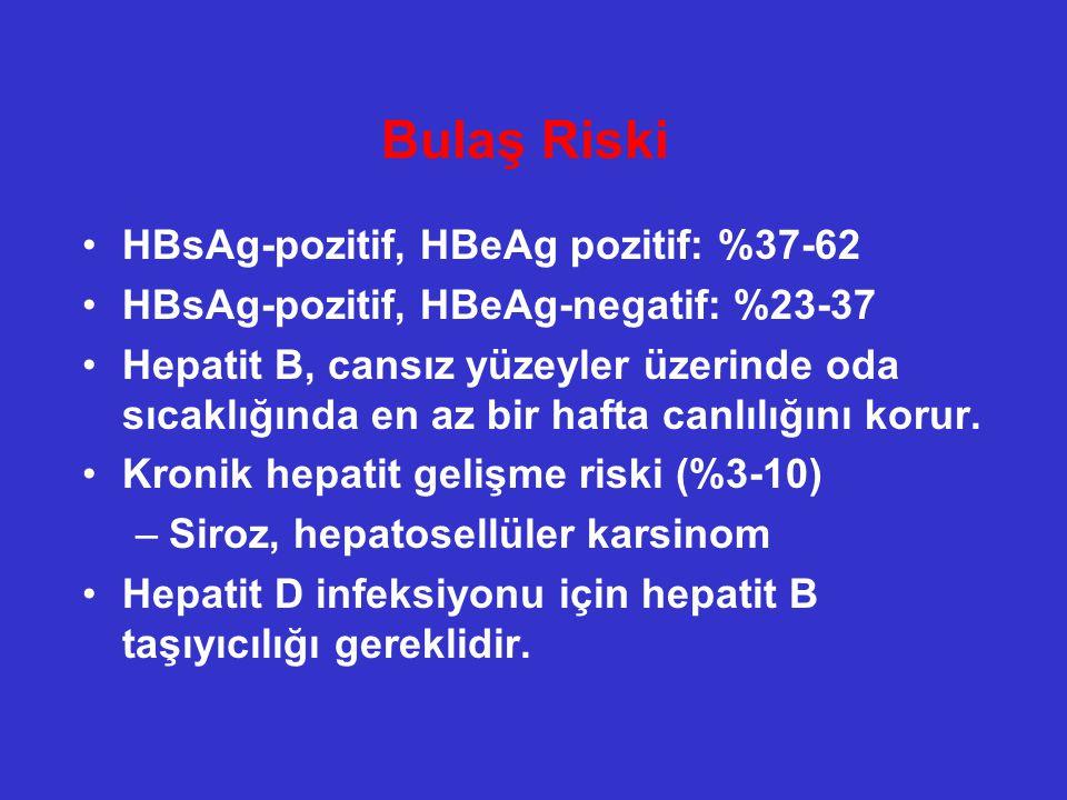 Bulaş Riski HBsAg-pozitif, HBeAg pozitif: %37-62 HBsAg-pozitif, HBeAg-negatif: %23-37 Hepatit B, cansız yüzeyler üzerinde oda sıcaklığında en az bir h
