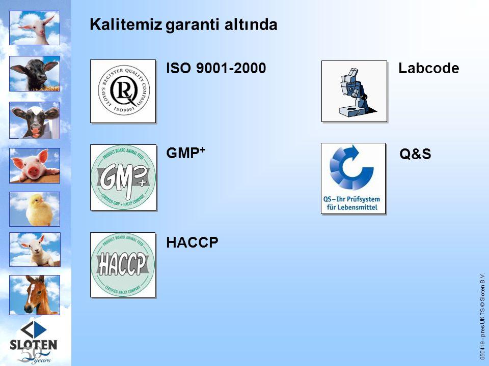 050419 - pres UK TS © Sloten B.V. Kalitemiz garanti altında ISO 9001-2000 GMP + Labcode HACCP Q&S