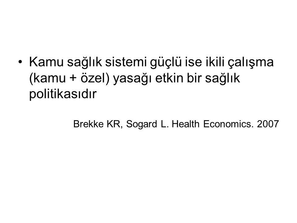 Kamu sağlık sistemi güçlü ise ikili çalışma (kamu + özel) yasağı etkin bir sağlık politikasıdır Brekke KR, Sogard L.