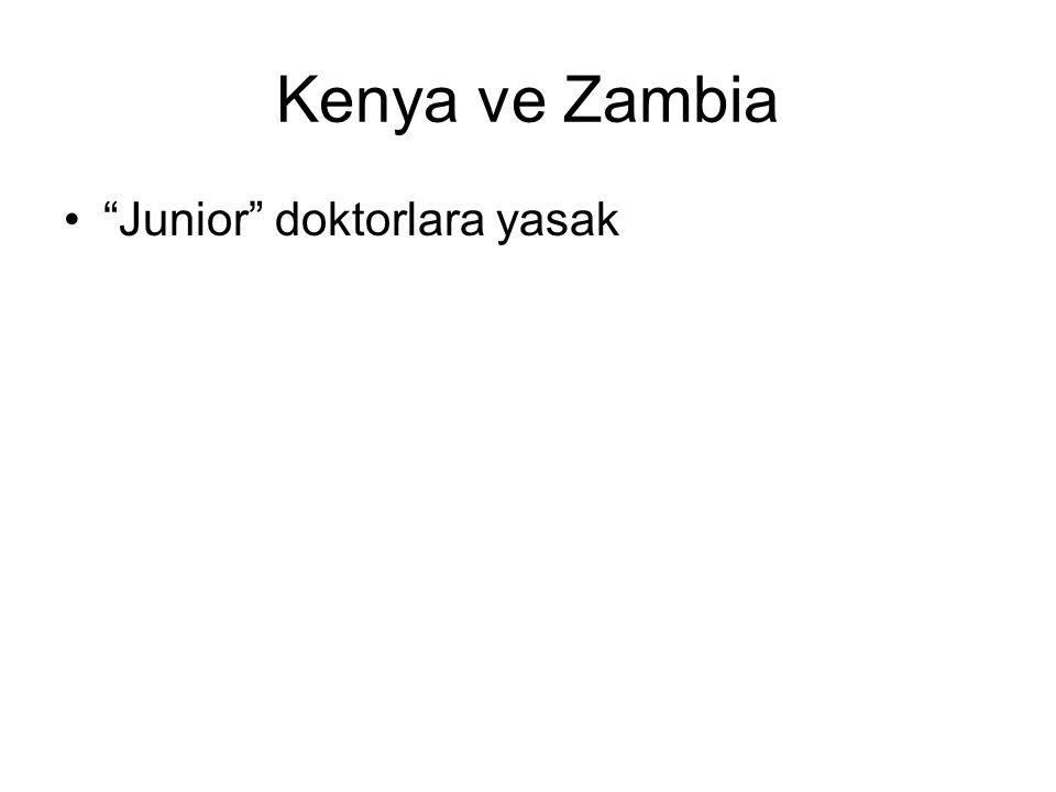 Kenya ve Zambia Junior doktorlara yasak