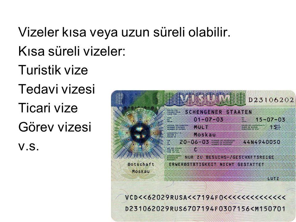 Vizeler kısa veya uzun süreli olabilir. Kısa süreli vizeler: Turistik vize Tedavi vizesi Ticari vize Görev vizesi v.s.