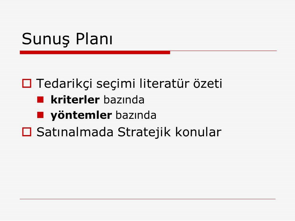 Sunuş Planı  Tedarikçi seçimi literatür özeti kriterler bazında yöntemler bazında  Satınalmada Stratejik konular