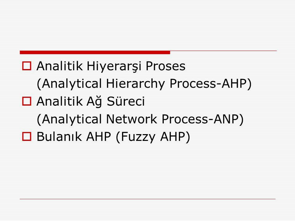  Analitik Hiyerarşi Proses (Analytical Hierarchy Process-AHP)  Analitik Ağ Süreci (Analytical Network Process-ANP)  Bulanık AHP (Fuzzy AHP)