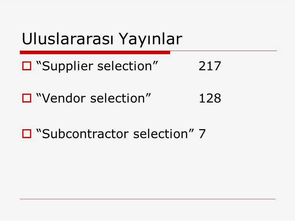 Özel Bir Bakış Açısı  Parahinski ve Benton (2004) tedarikçi performansını kritik başarı faktörleri açısından ele almış ve kriterleri ürün kalitesi, teslimat performansı, fiyat, değişen isteklere cevap verme, servis desteği ve genel performans olarak belirlemişlerdir.