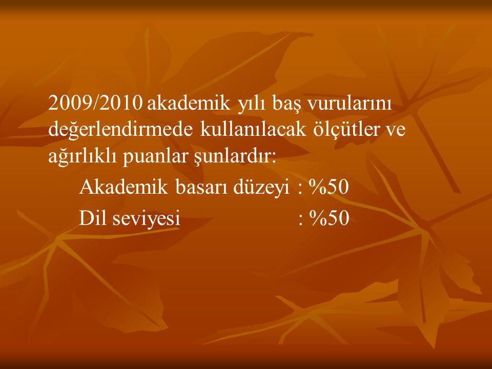 2009/2010 akademik yılı baş vurularını değerlendirmede kullanılacak ölçütler ve ağırlıklı puanlar şunlardır: Akademik basarı düzeyi : %50 Dil seviyesi : %50